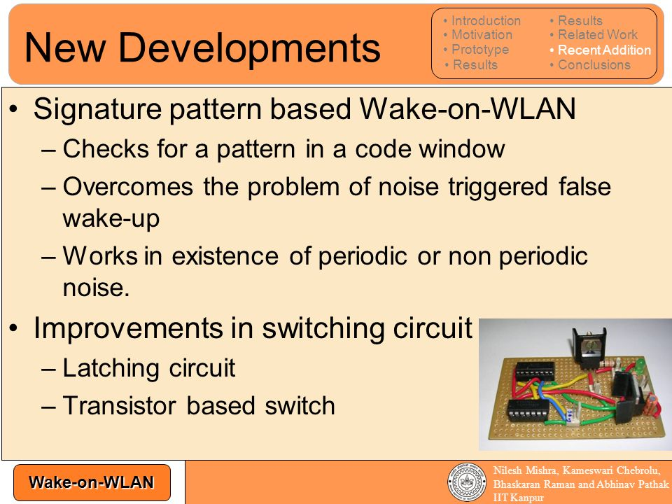 New Developments Signature pattern based Wake-on-WLAN