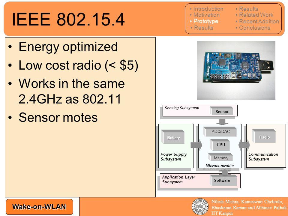 IEEE 802.15.4 Energy optimized Low cost radio (< $5)