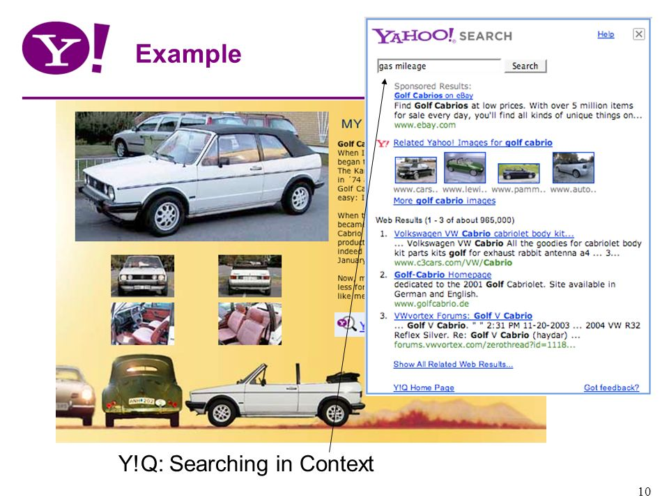 Example Add csrp Y!Q: Searching in Context