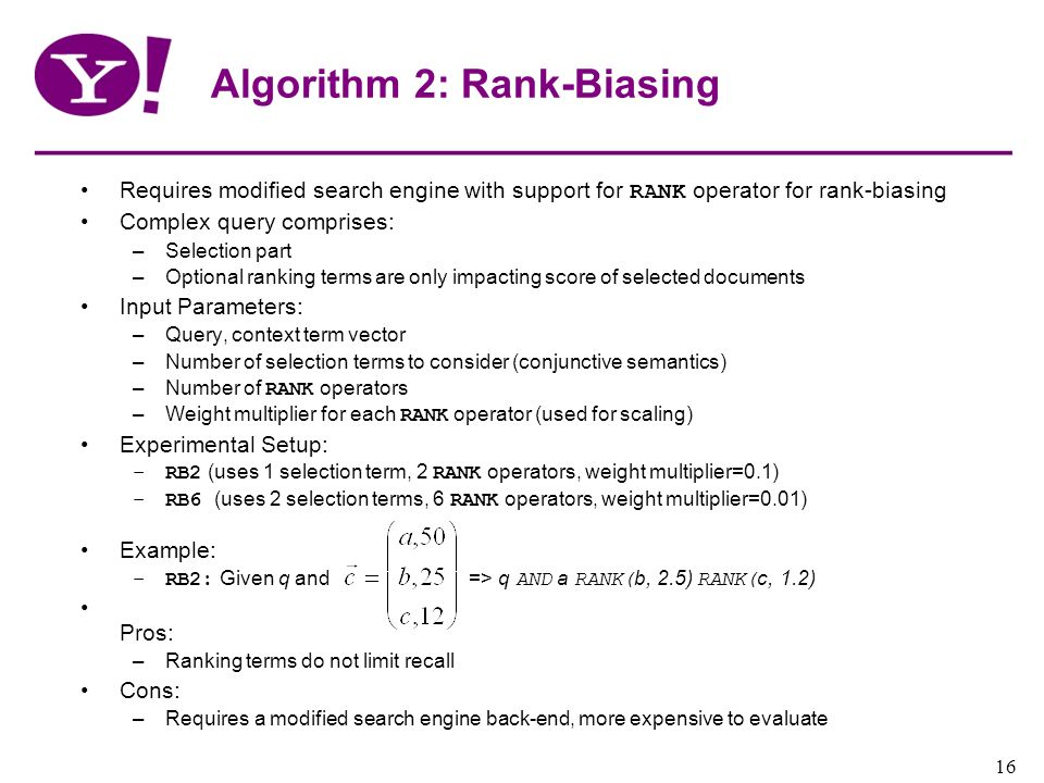Algorithm 2: Rank-Biasing
