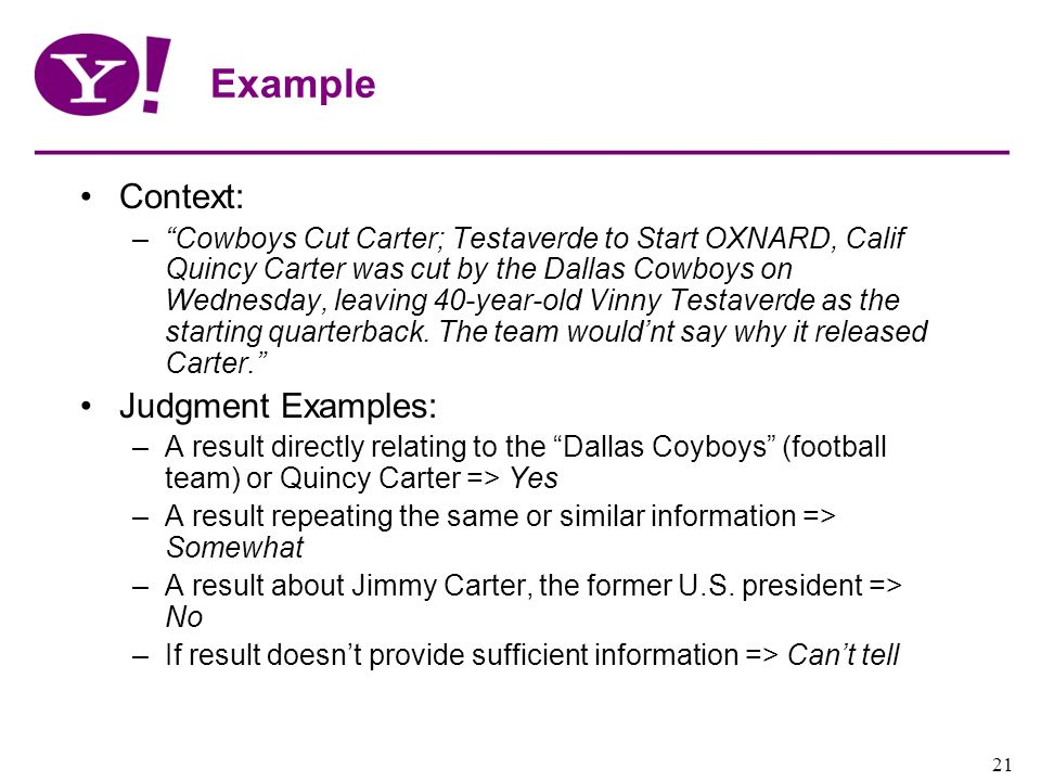 Example Context: Judgment Examples:
