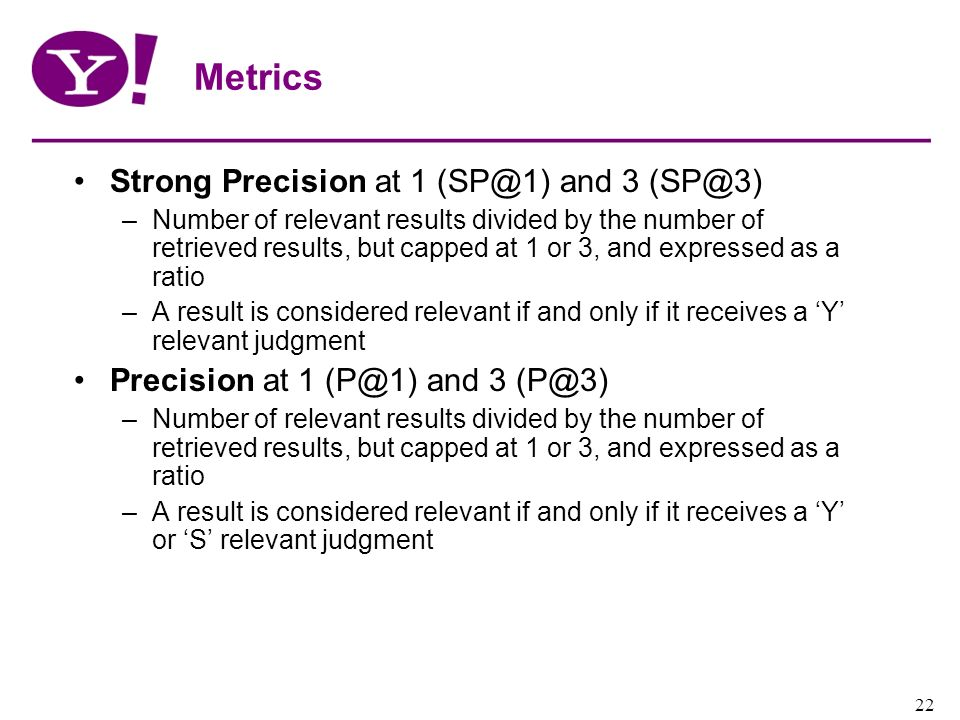Metrics Strong Precision at 1 (SP@1) and 3 (SP@3)