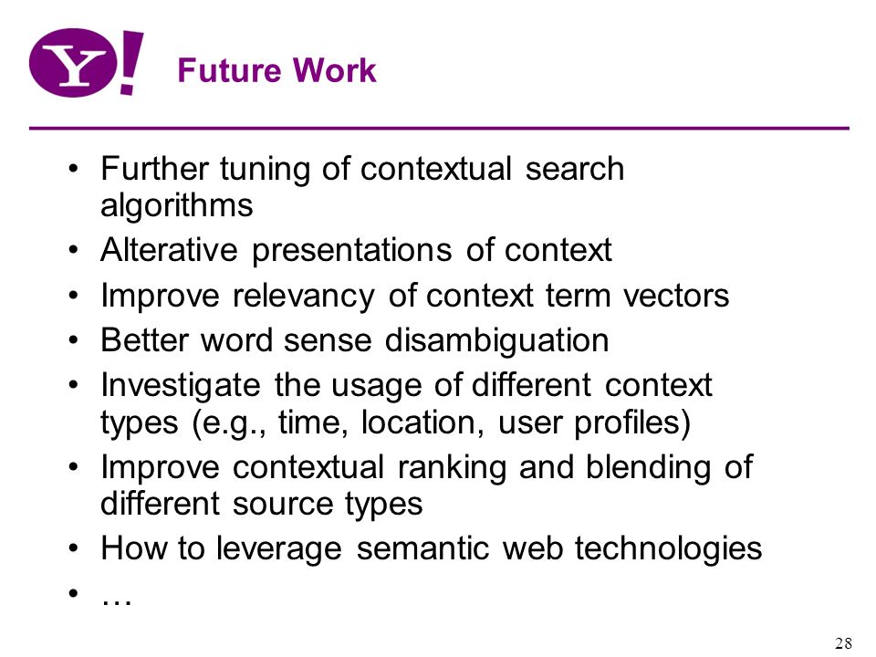 Future Work Further tuning of contextual search algorithms. Alterative presentations of context. Improve relevancy of context term vectors.