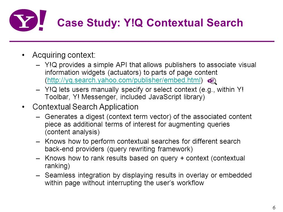 Case Study: Y!Q Contextual Search