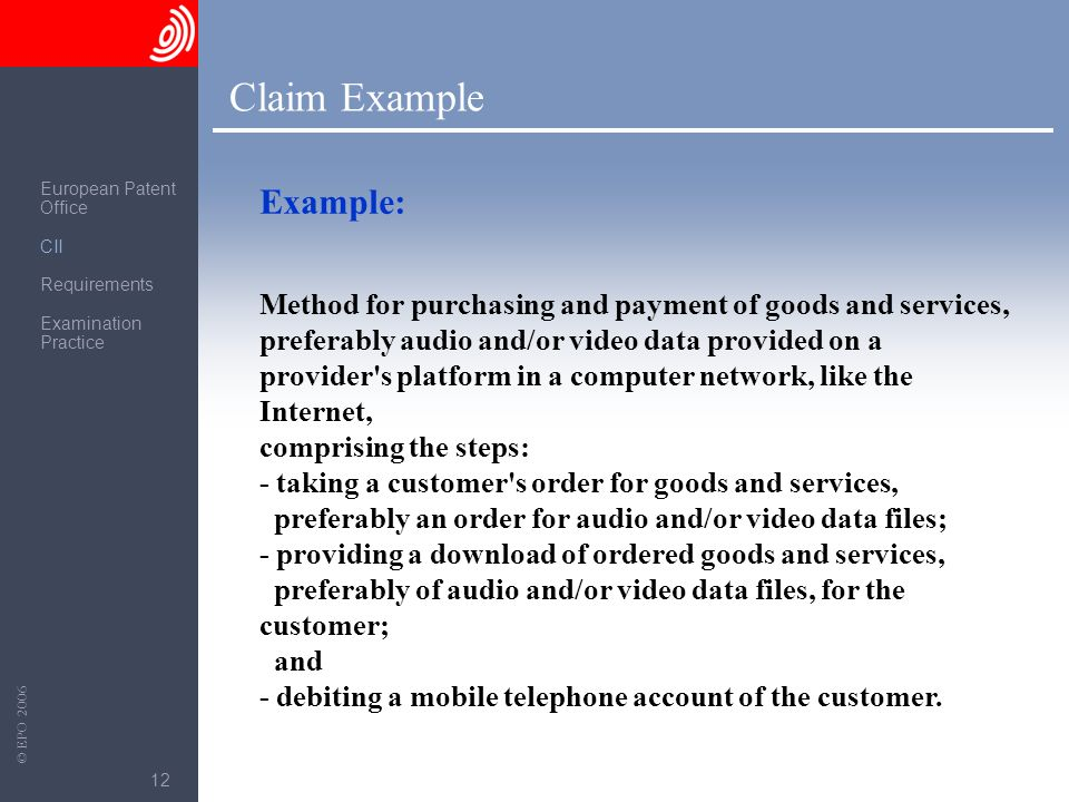 Claim Example Example: