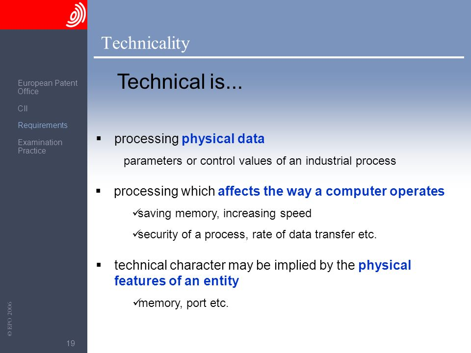 Technical is... Technicality processing physical data