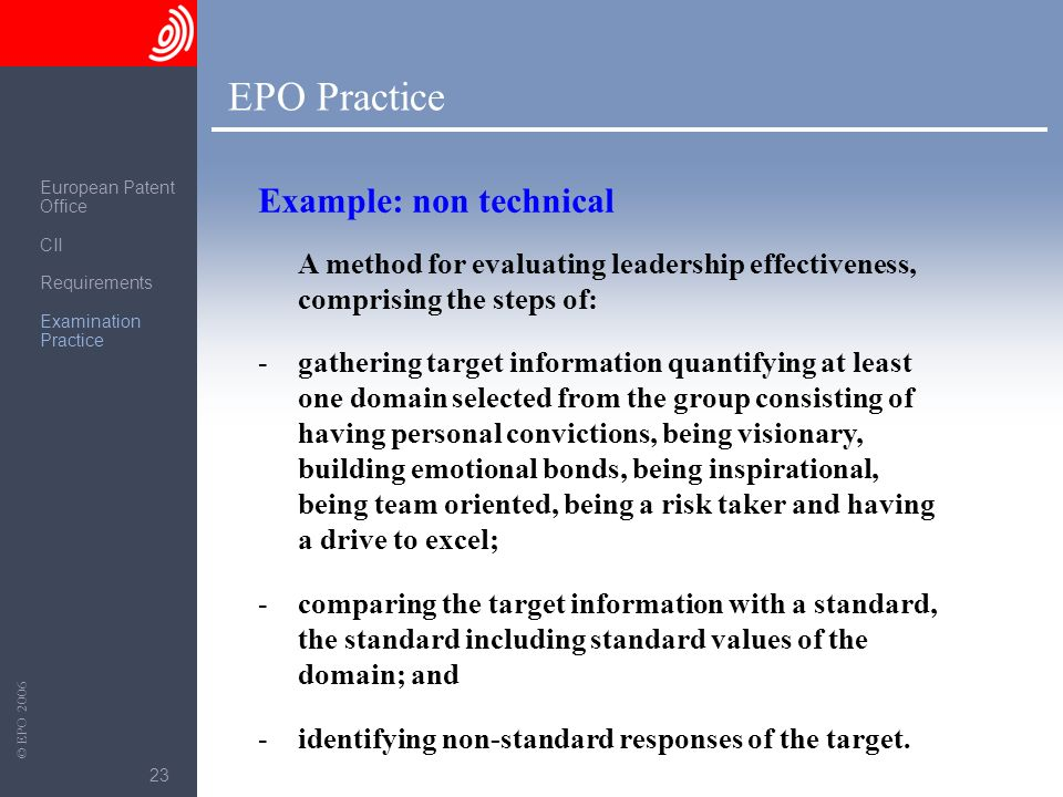 EPO Practice Example: non technical