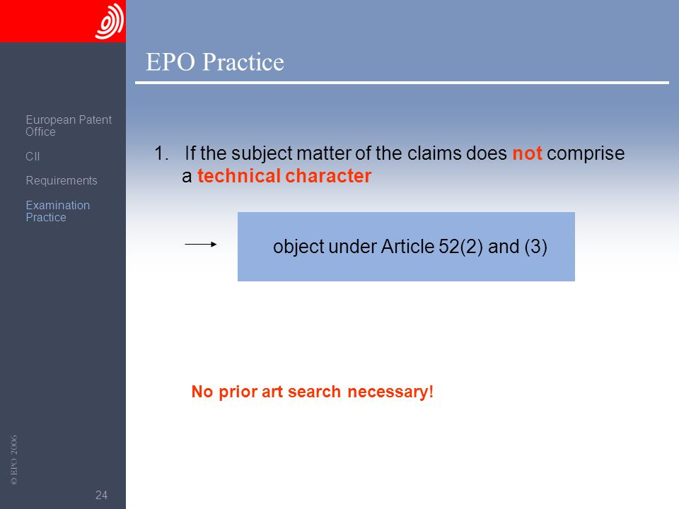 EPO Practice European Patent. Office. CII. Requirements. Examination Practice.