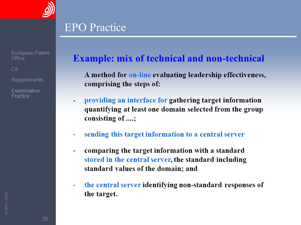 EPO Practice Example: mix of technical and non-technical
