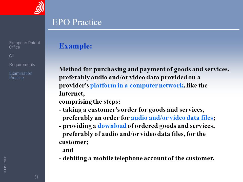 EPO Practice European Patent. Office. CII. Requirements. Examination Practice. Example: