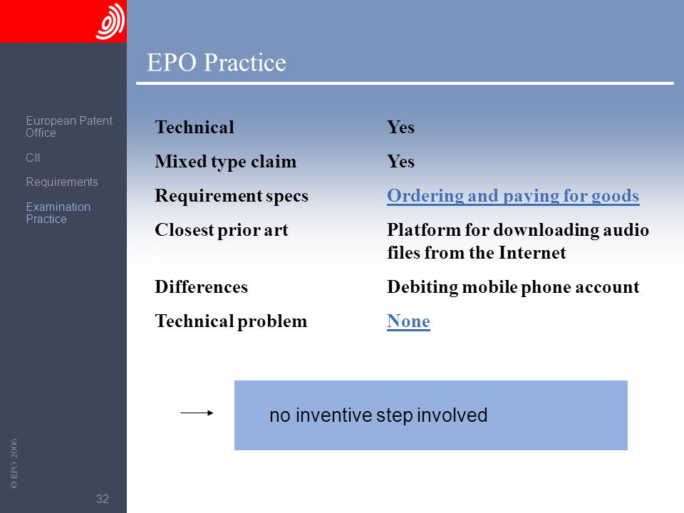EPO Practice Technical Mixed type claim Requirement specs