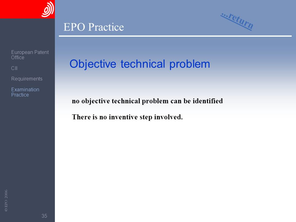 Objective technical problem