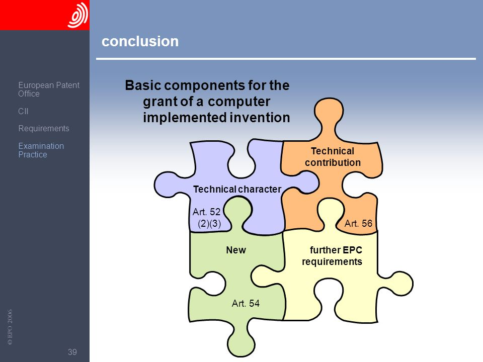 conclusion Basic components for the grant of a computer implemented invention. European Patent. Office.