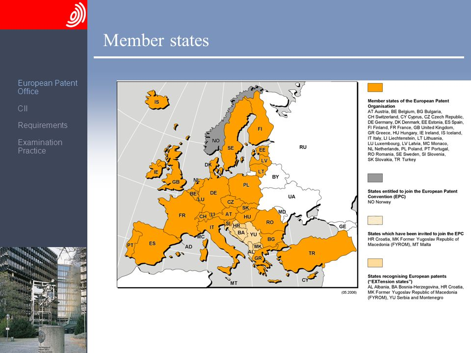 Member states European Patent Office CII Requirements