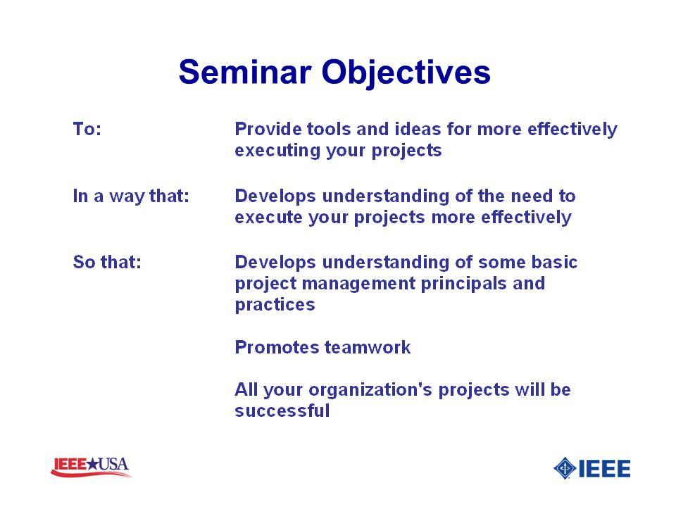Seminar Objectives