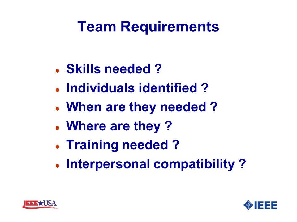 Team Requirements Skills needed Individuals identified