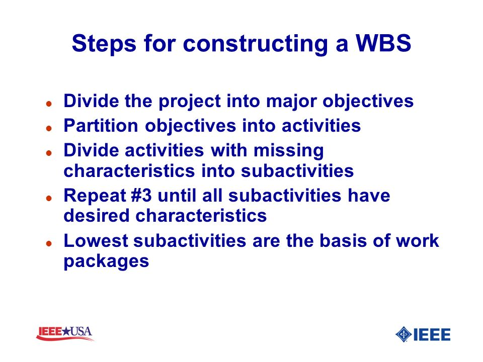 Steps for constructing a WBS