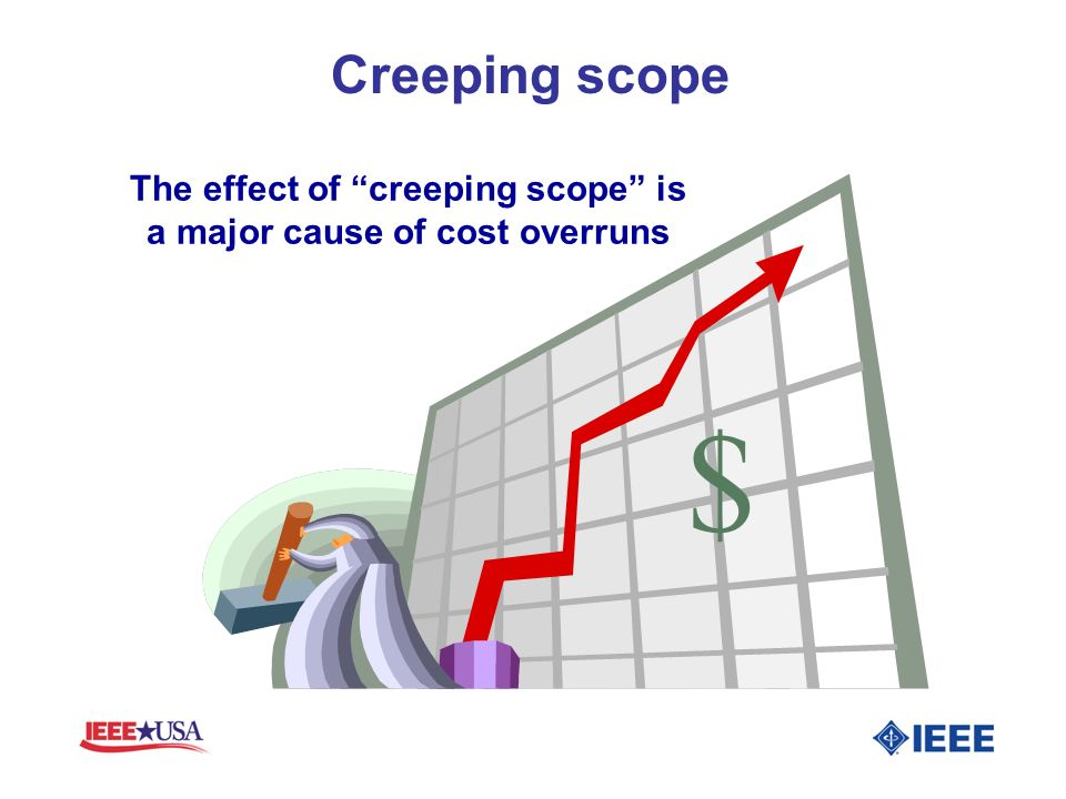 The effect of creeping scope is a major cause of cost overruns