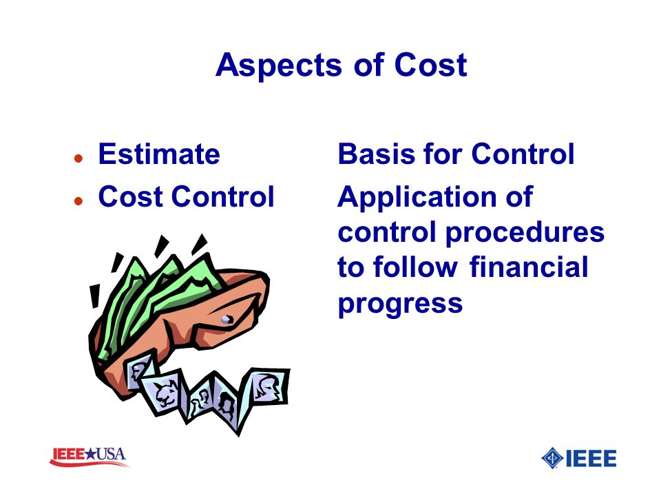 Aspects of Cost Estimate Basis for Control