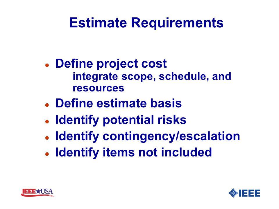Estimate Requirements