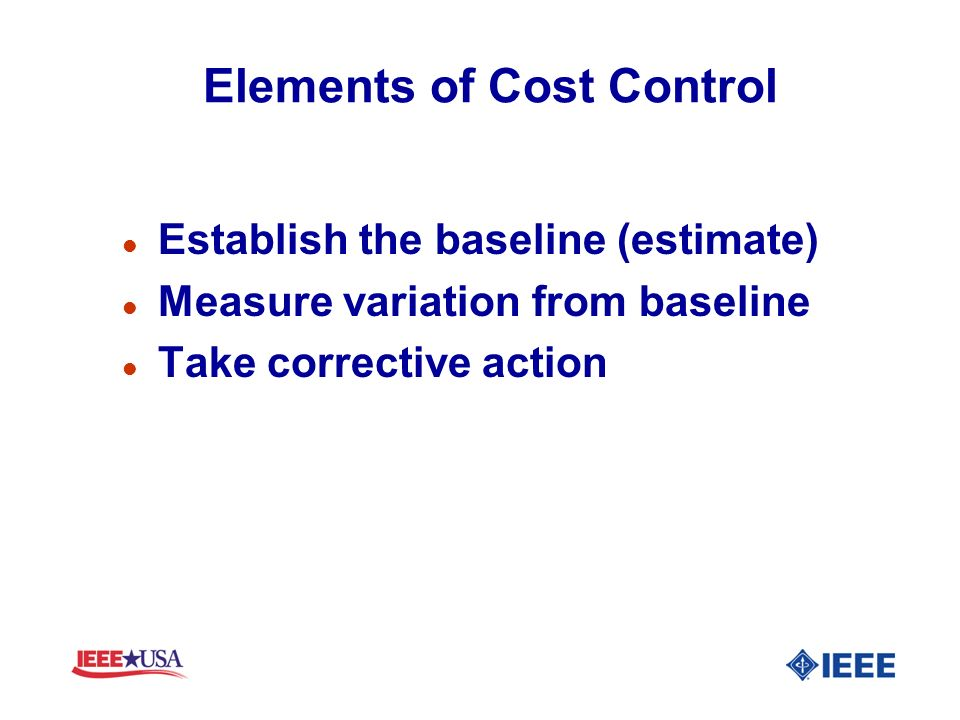 Elements of Cost Control