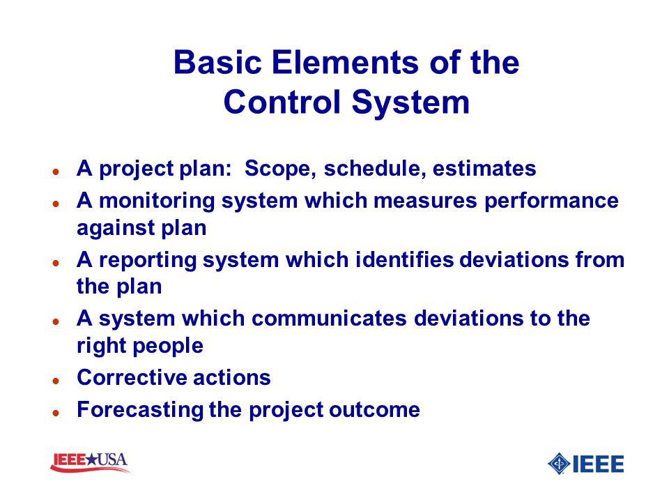Basic Elements of the Control System