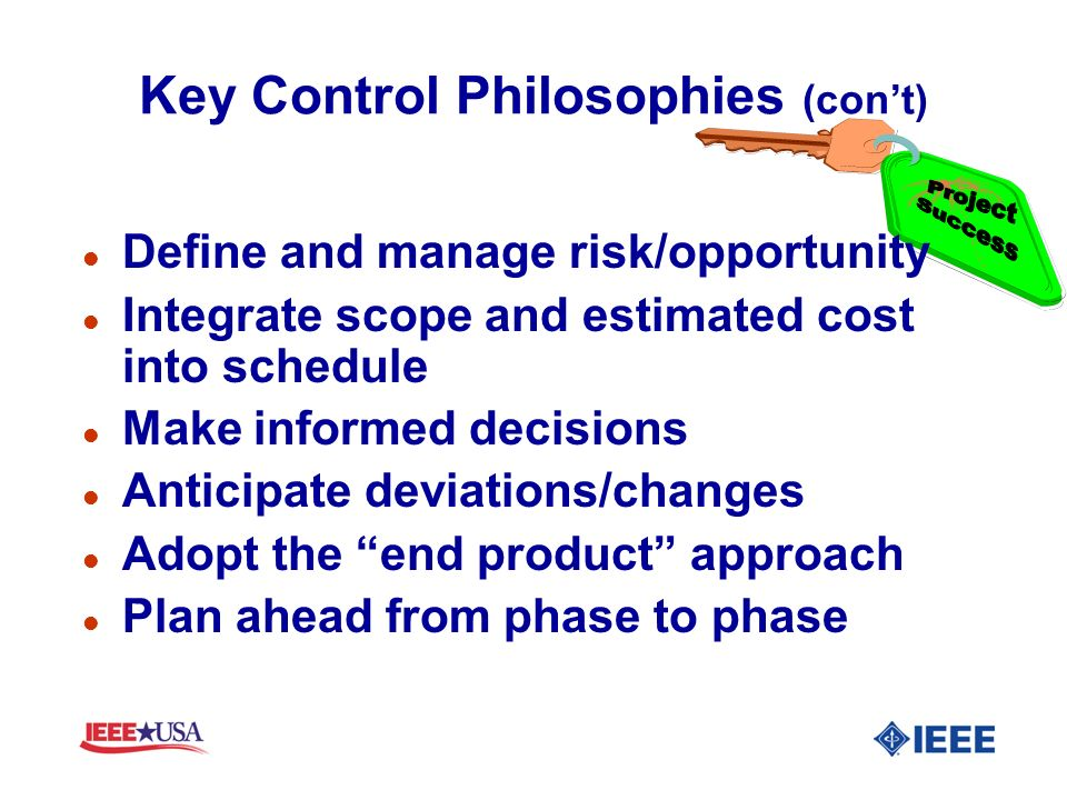 Key Control Philosophies (con't)