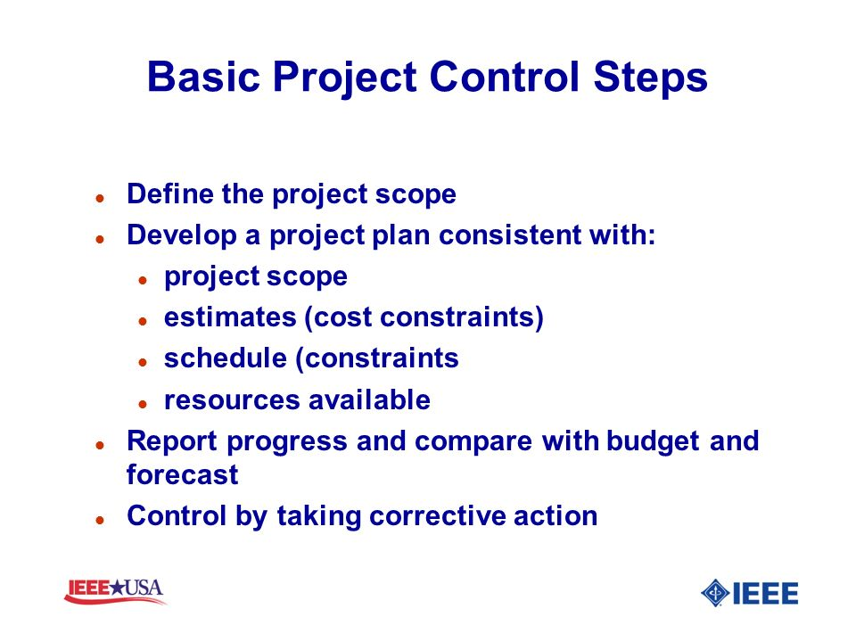 Basic Project Control Steps