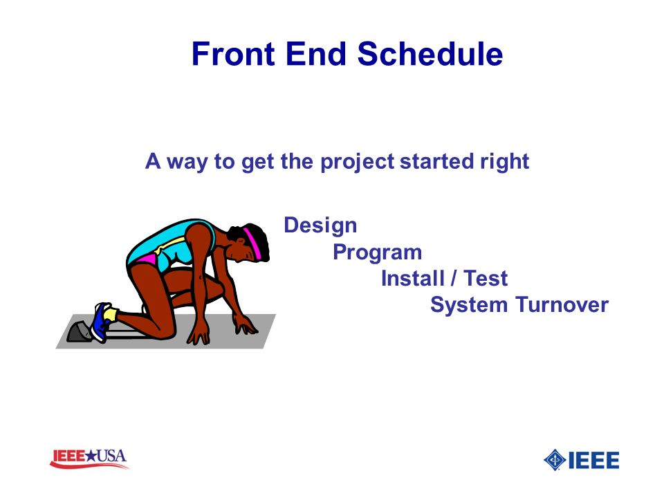 Front End Schedule A way to get the project started right Design