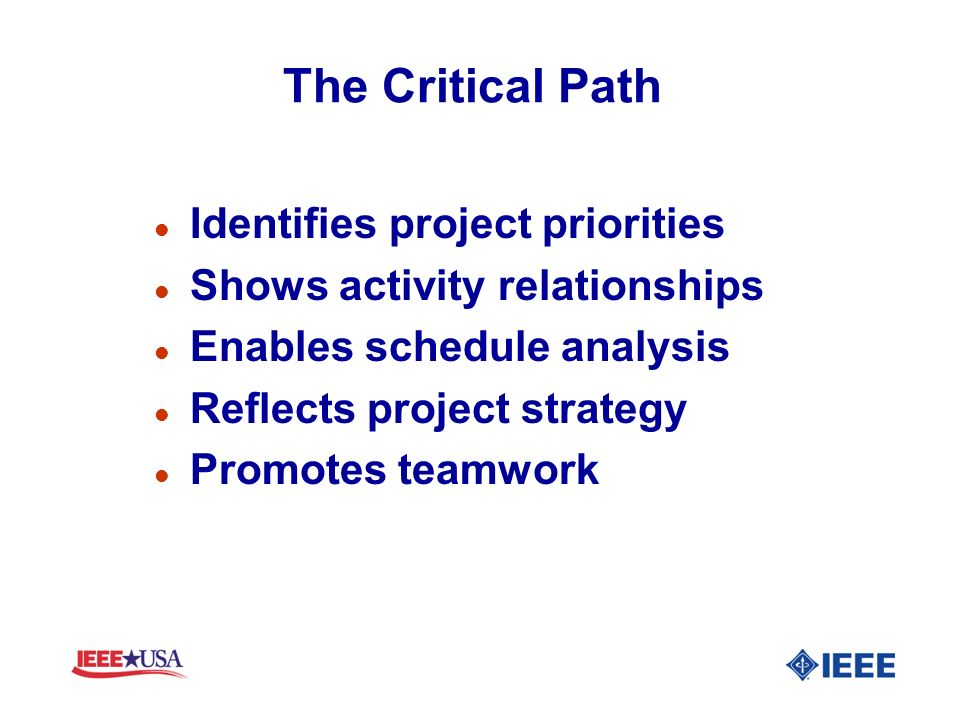 The Critical Path Identifies project priorities