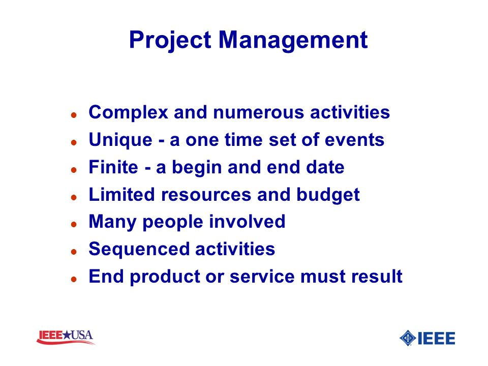 Project Management Complex and numerous activities