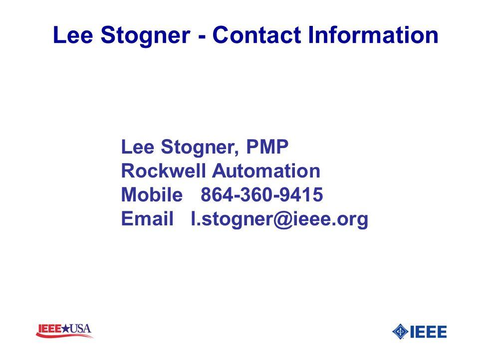 Lee Stogner - Contact Information Lee Stogner, PMP.