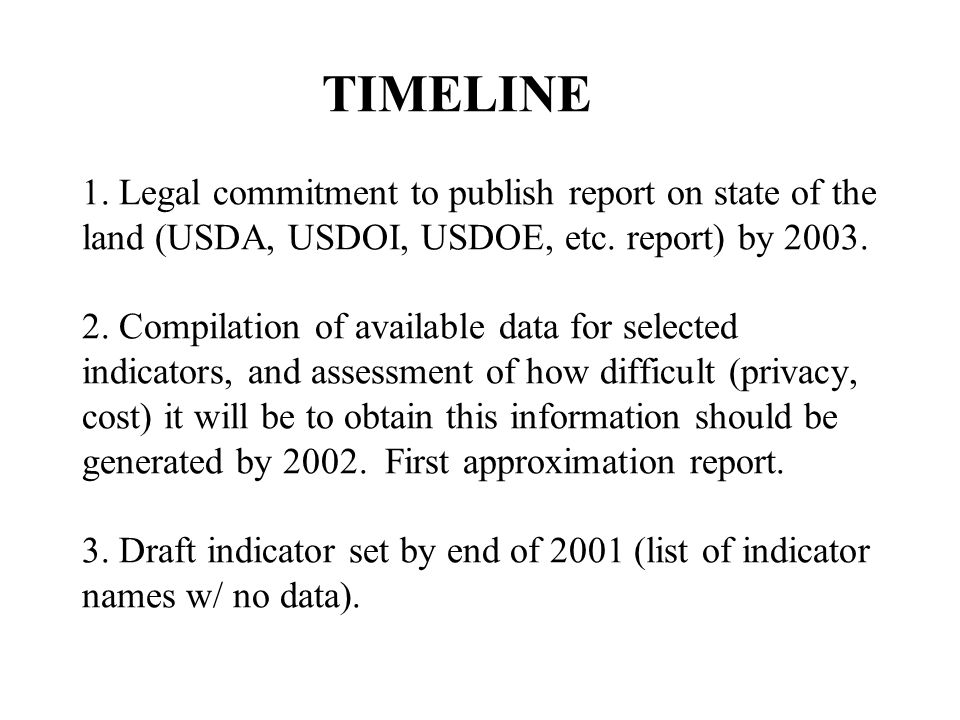 TIMELINE 1. Legal commitment to publish report on state of the land (USDA, USDOI, USDOE, etc.