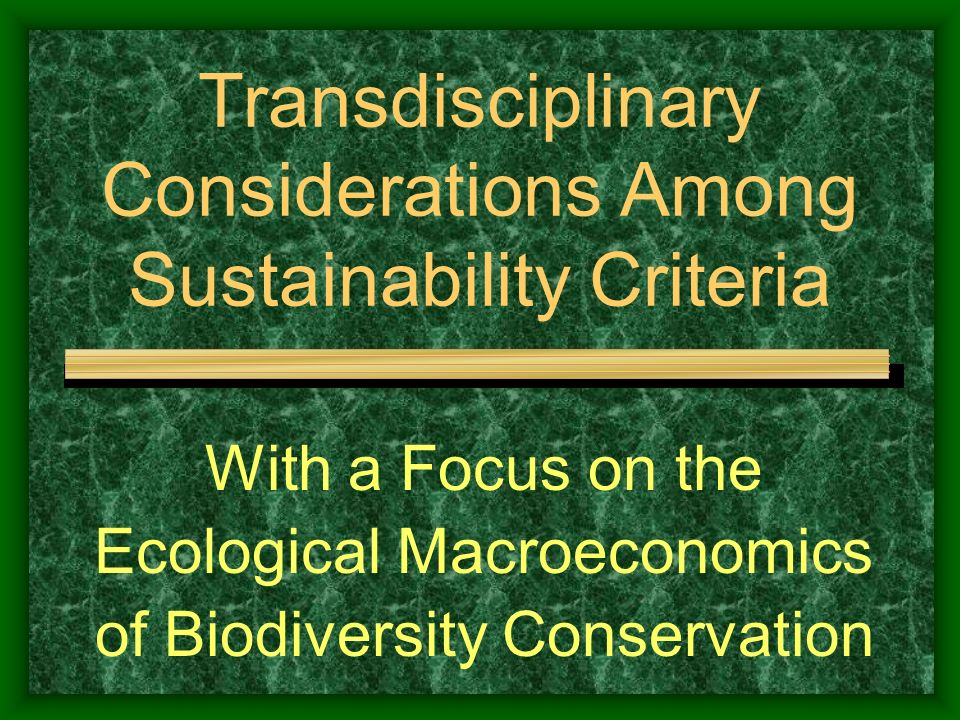 Transdisciplinary Considerations Among Sustainability Criteria