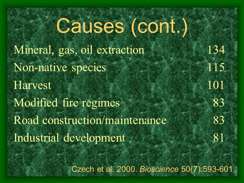 Causes (cont.) Mineral, gas, oil extraction Non-native species Harvest
