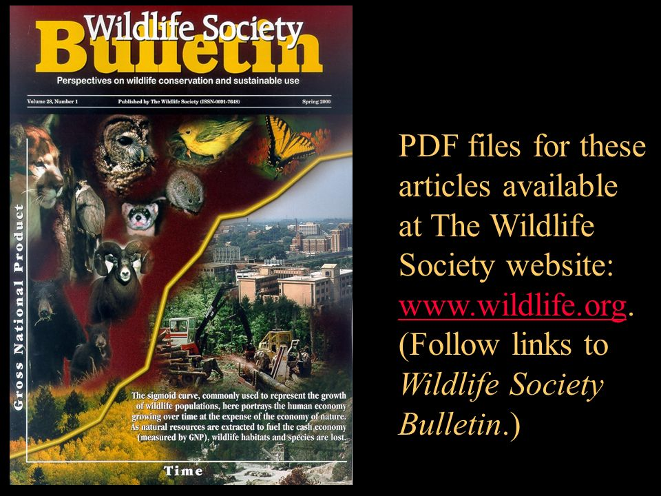 PDF files for these articles available at The Wildlife Society website: