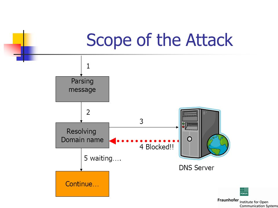 Scope of the Attack 1 Parsing message 2 3 Resolving Domain name