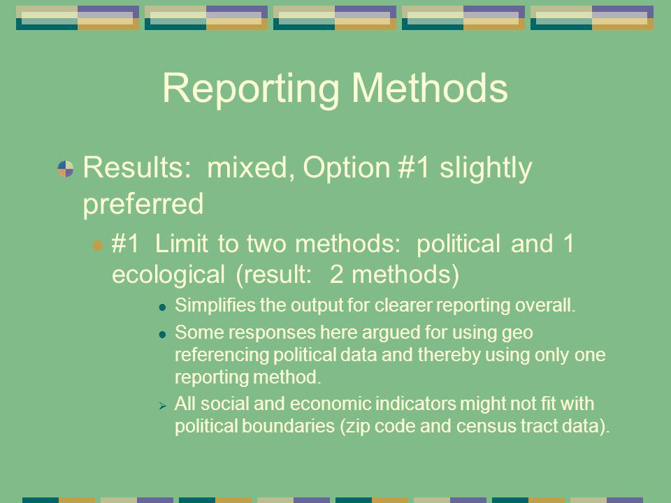 Reporting Methods Results: mixed, Option #1 slightly preferred