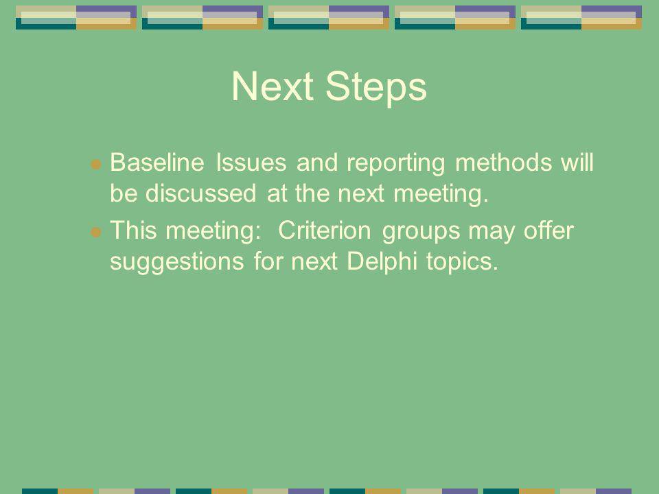 Next Steps Baseline Issues and reporting methods will be discussed at the next meeting.