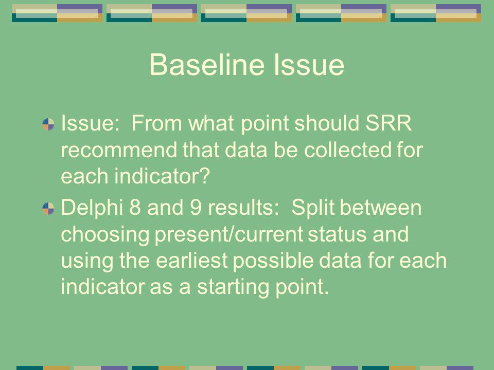 Baseline Issue Issue: From what point should SRR recommend that data be collected for each indicator