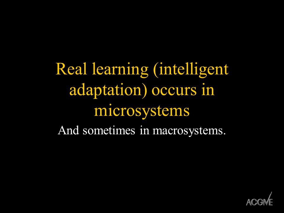 Real learning (intelligent adaptation) occurs in microsystems