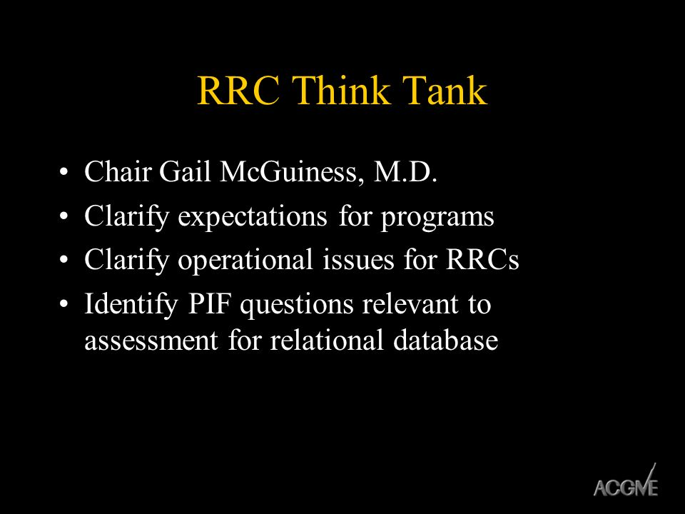 RRC Think Tank Chair Gail McGuiness, M.D.