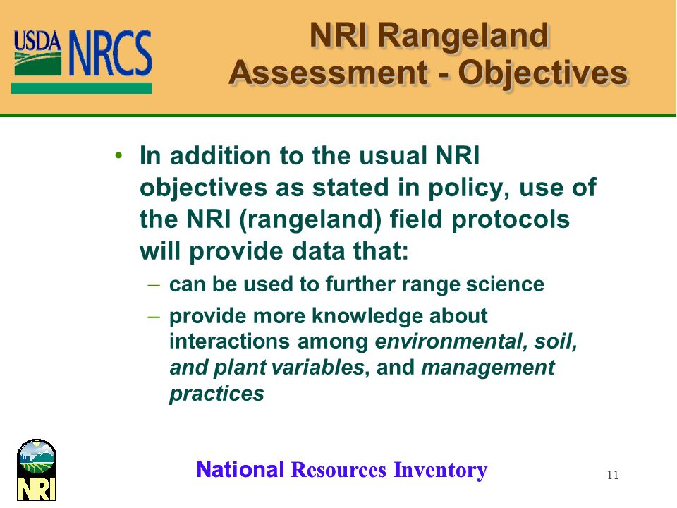 NRI Rangeland Assessment - Objectives