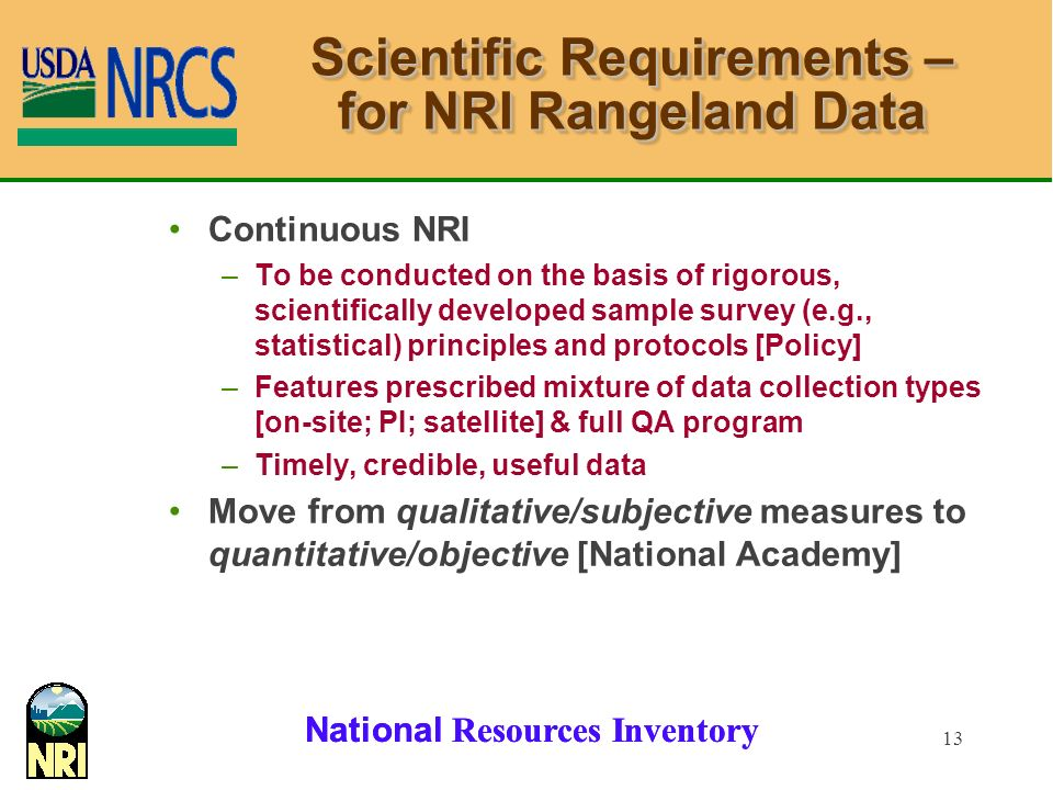 Scientific Requirements – for NRI Rangeland Data