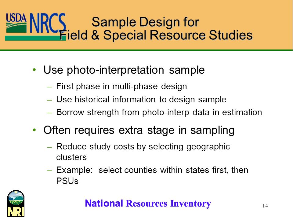 Sample Design for Field & Special Resource Studies