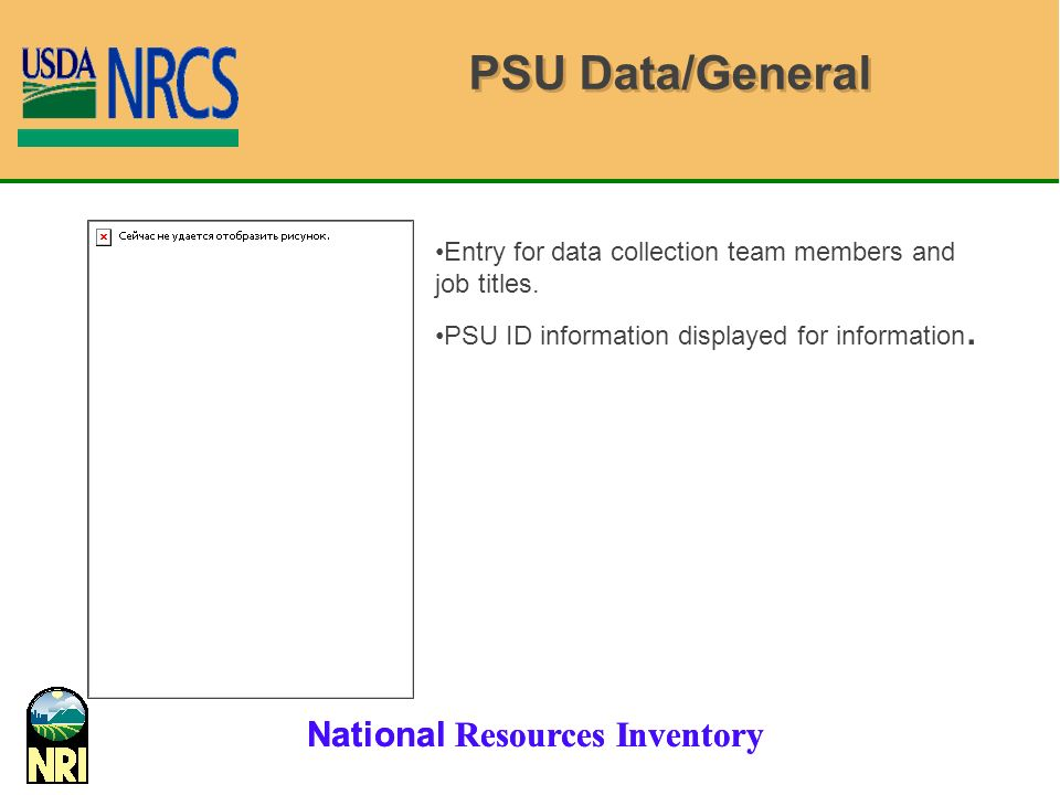 PSU Data/General Entry for data collection team members and job titles.