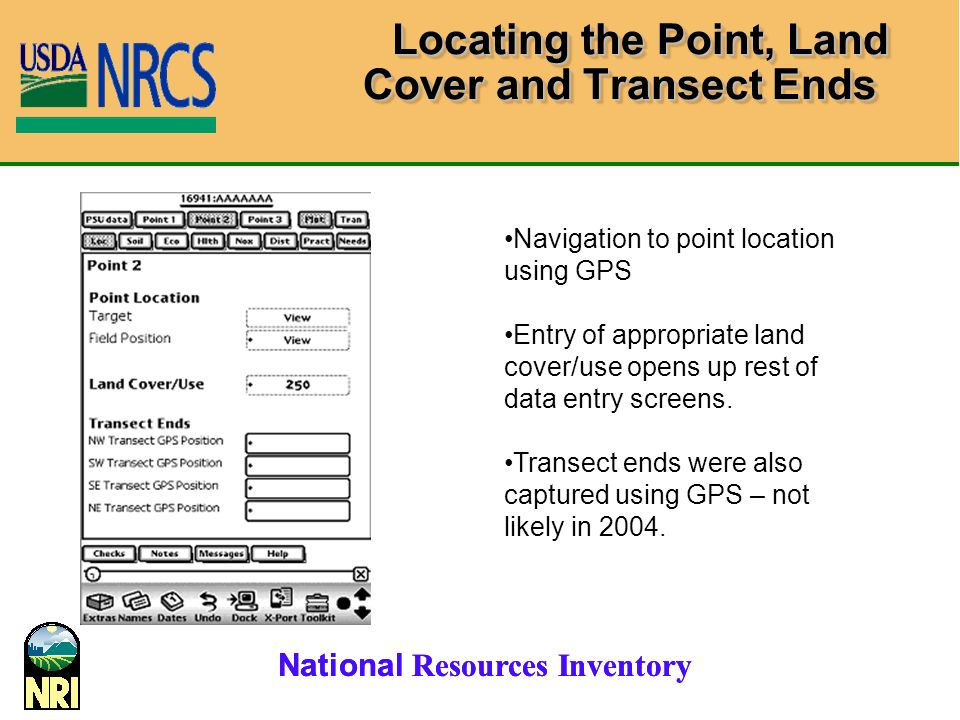 Locating the Point, Land Cover and Transect Ends