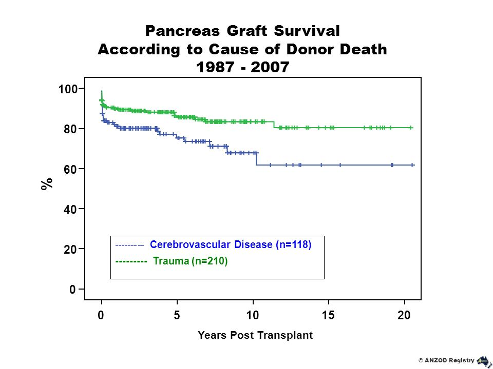 Pancreas Graft Survival According to Cause of Donor Death