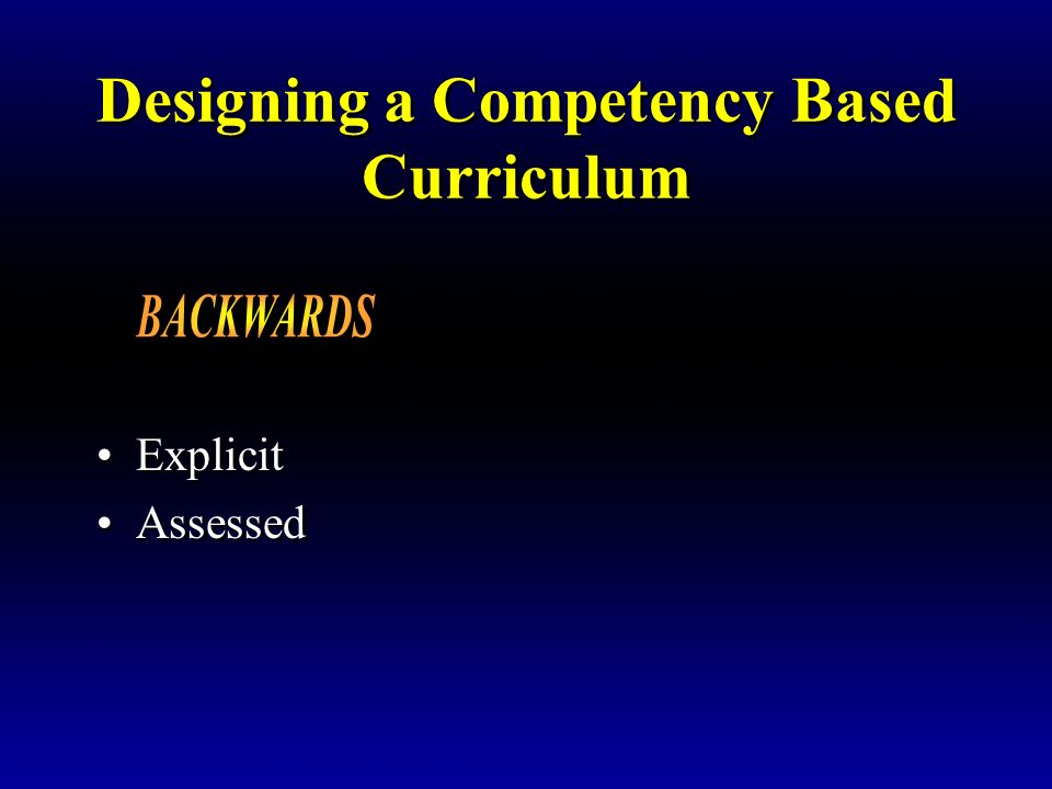 Designing a Competency Based Curriculum