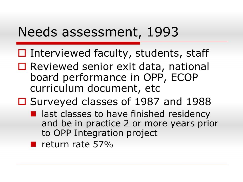 Needs assessment, 1993 Interviewed faculty, students, staff